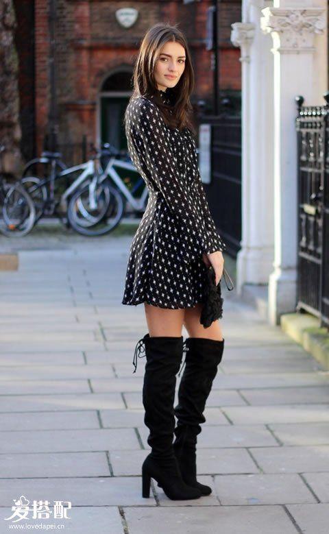 溜冰裙+长靴
