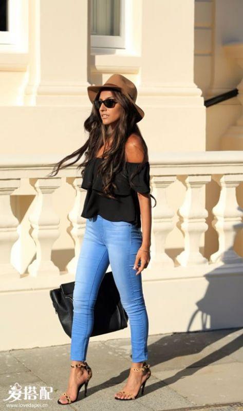 牛仔裤+衬衫