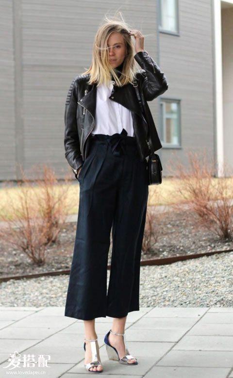 九分阔腿裤+夹克