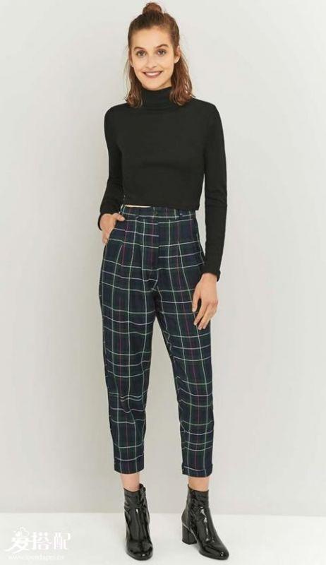 格纹裤子+精致上衣
